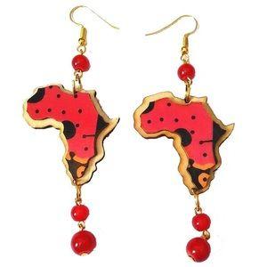 3D wooden African map earrings